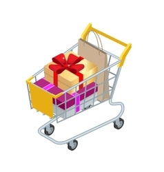 Food basket DISCOUNT or shopping cart with gifts vector