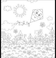 Funny kite flying over a small town vector