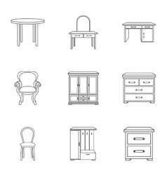 Furniture and home interior set icons in outline vector image vector image