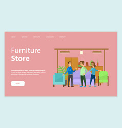furniture store seller and clients in shop vector image
