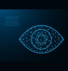 Gear in eye low poly design settings or vector