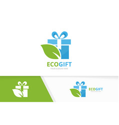 Gift and leaf logo combination present and vector