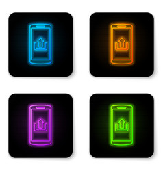 glowing neon smartphone with upload icon isolated vector image