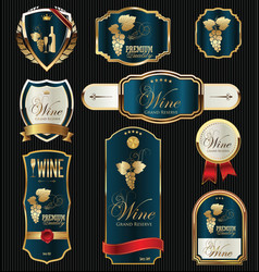 gold and blue elegant wine labels collection vector image