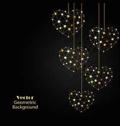 Gold hearts made of connected lines and dots vector