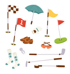 golf icons hobequipment cart player golfing vector image