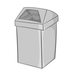 Gray trash icon black monochrome style vector