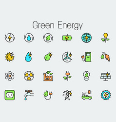 green energy related icon set vector image