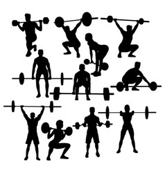 Gym weightlifting silhouettes vector