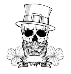 Hand drawn angry skull of leprechaun vector