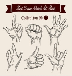 Hand drawn sketch set hands gestures vector