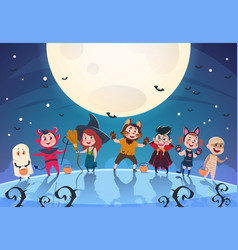 happy halloween background monsters and kids in vector image