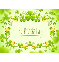 Holiday frame with green clover vector