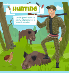 hunter with wild animals trophy in forest vector image