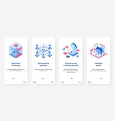 Isometric blockchain 3d cryptocurrency ux ui vector