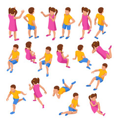 isometric set girl and boy in different poses vector image