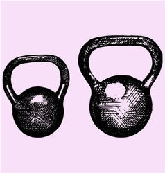kettlebell dumbbell weight sport equipment dood vector image