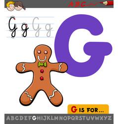 letter g with cartoon gingerbread man vector image