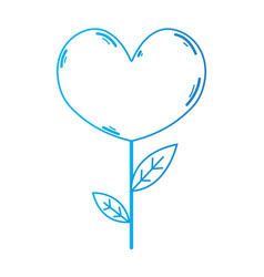 line beauty heart plant with leaves design vector image