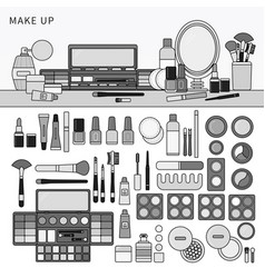 make up kit on table line monochrome vector image