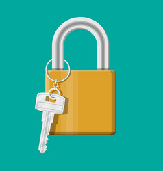 metal padlock with key pad lock with keyring vector image
