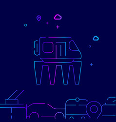 Monorail road line icon on a dark blue background vector