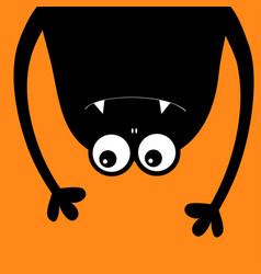 monster head silhouette two eyes teeth fang hands vector image