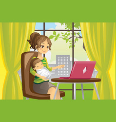 mother and baby using laptop vector image