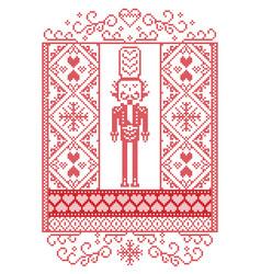 Nutcracker scandinavian christmas pattern vector