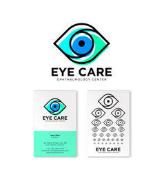 Ophthalmology clinic flat logo eye care emblems vector