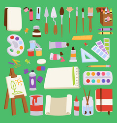 painting artist tools palette icon set flat vector image