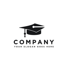pen and graduation hat logo icon template vector image
