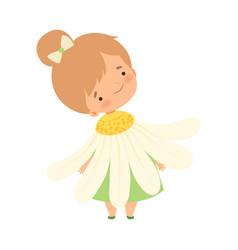 Pretty little girl wearing chamomile flower vector