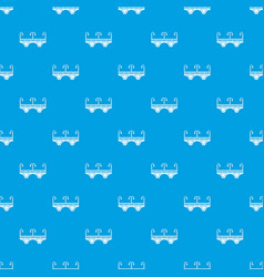 Retro arch bridge pattern seamless blue vector