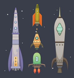 Rocket ship in cartoon style new businesses vector