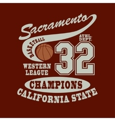 Sacramento Basketball t-shirt vector image