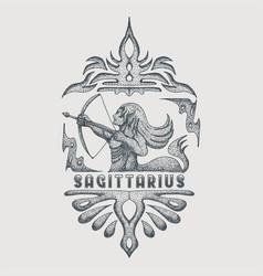 sagittarius zodiac vintage vector image