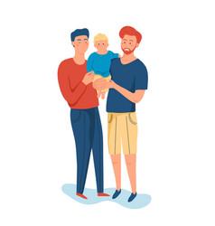 same sex couple handsome men holding their son vector image