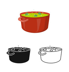 Saucepan and broccoli icon vector