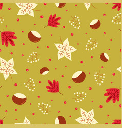 seamless autumn leaves pattern chestnut vector image