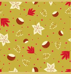 seamless autumn leaves pattern chestnut vector image