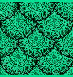 seamless green floral mandala pattern vector image