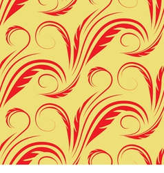Seamless yellow background with red floral pattern vector