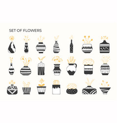 set flowers in pots with patterns vector image