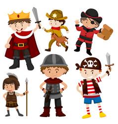 Set of children in costumes vector