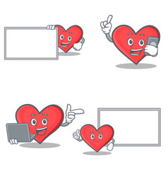 Set of heart character with board phone laptop vector