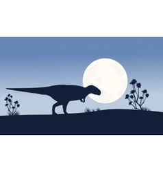 Silhouette of Mapusaurus with big moon scenery vector image