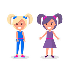 Smiling girls with two tails brunette and blonde vector