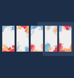 Social media story frame set colorful template vector