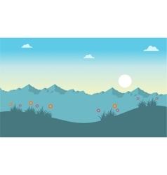 Spring landscape at the sunrise vector
